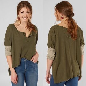 NWT FREE PEOPLE Distressed Oversized Henley Tee